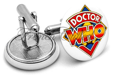 Dr Who Logo Alternate Cufflinks - Angled View