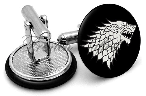 Game Thrones Wolf Cufflinks - Angled View