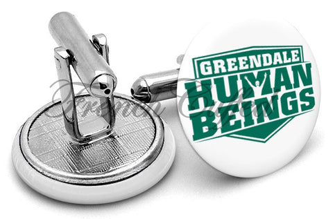 Greendale Human Beings Community Cufflinks - Angled View