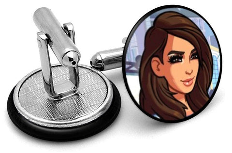 Kim Kardashian Game Cufflinks - Angled View