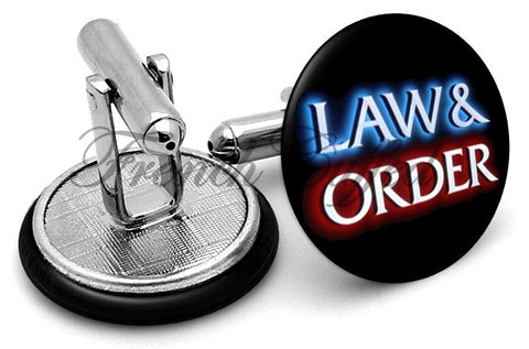Law & Order Logo Cufflinks - Angled View