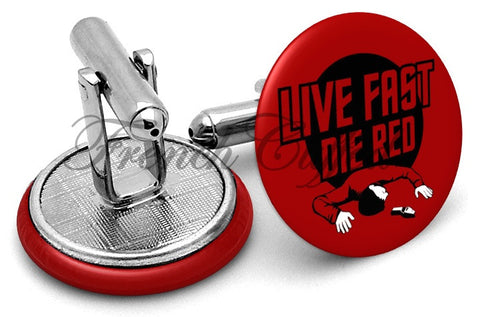 Live Fast Die Red Cufflinks - Angled View