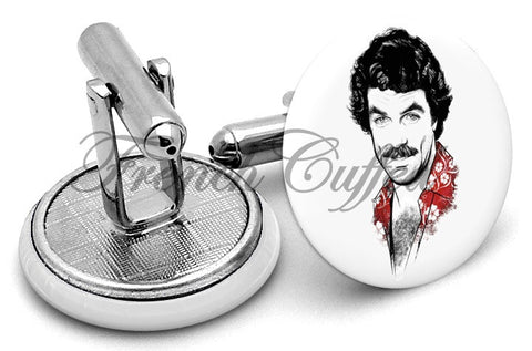 Tom Selleck Magnum Cufflinks - Angled View