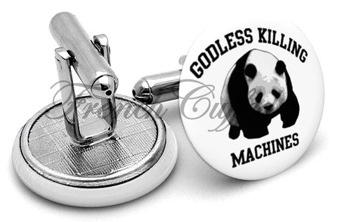 Godless Killing Machines Panda Cufflinks - Angled View