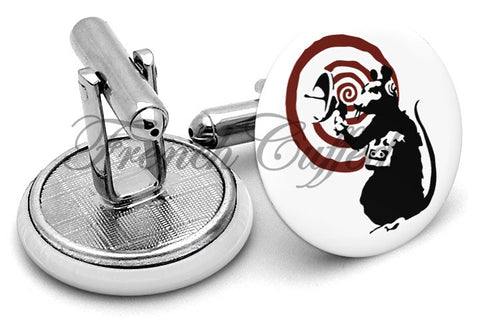 Banksy Rat Cufflinks - Angled View