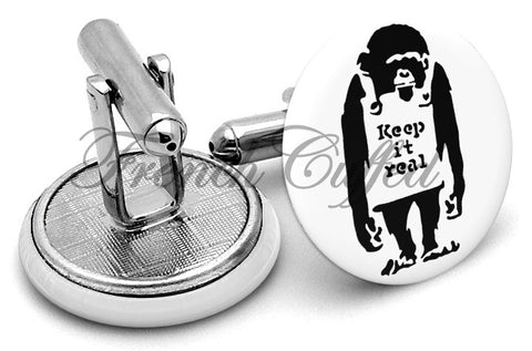 Banksy Keep It Real Cufflinks - Angled View