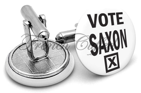 Dr Who Vote Saxon Cufflinks - Angled View