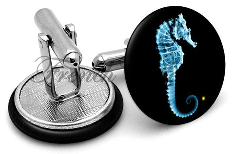Fringe Seahorse Cufflinks - Angled View