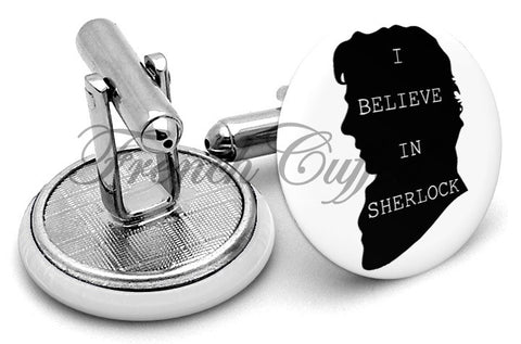 I Believe in Sherlock Cufflinks - Angled View
