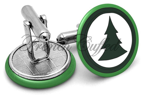 Brickleberry Tree Logo Cufflinks - Angled View