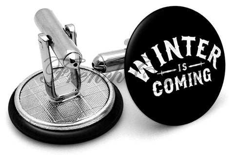 Game Thrones Winter Coming Cufflinks - Angled View