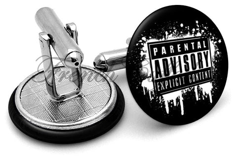 Parental Advisory Cufflinks - Angled View