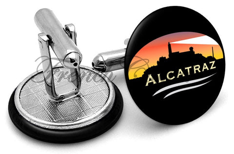 Alcatraz San Francisco Cufflinks - Angled View