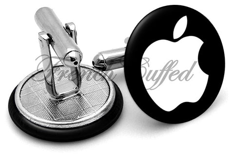 Apple Logo Classic Black Cufflinks - Angled View