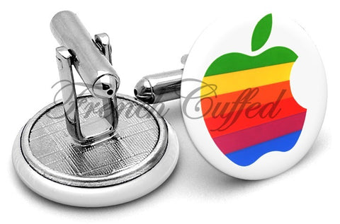 Apple Logo Original Vintage Cufflinks - Angled View