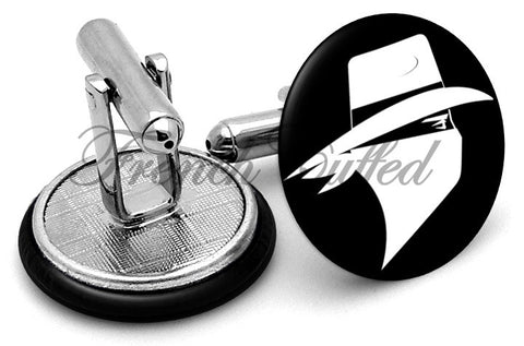 Bandit Robber Cufflinks - Angled View
