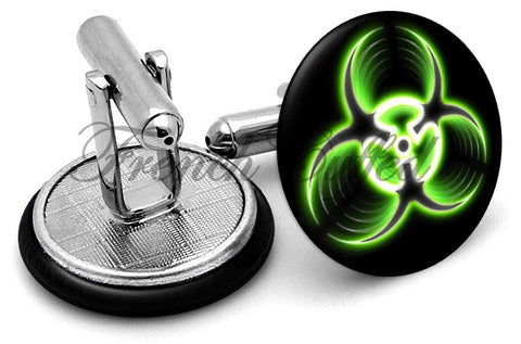 Biohazard Warning Cufflinks - Angled View