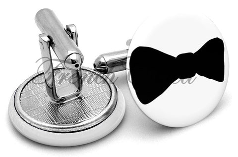 Bow Tie Black Cufflinks - Angled View