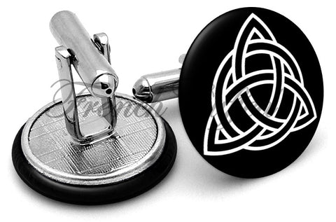 Celtic Triangle Cufflinks - Angled View