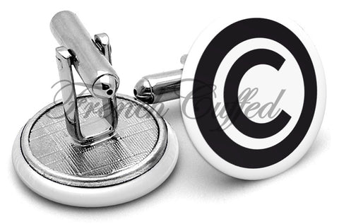 Copyright Circle C Cufflinks - Angled View
