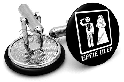 Wedding Game Over Cufflinks - Angled View