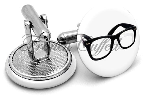 Geek Glasses Cufflinks - Angled View