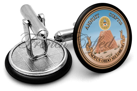 Great Seal USA Reverse Cufflinks - Angled View