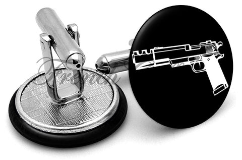Pistol Gun Black Cufflinks - Angled View