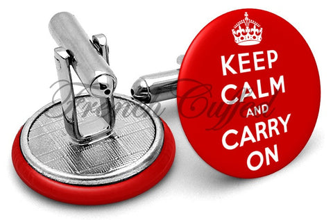 Keep Calm Carry On Cufflinks - Angled View