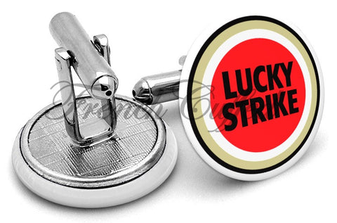 Lucky Strike Cigarettes Cufflinks - Angled View