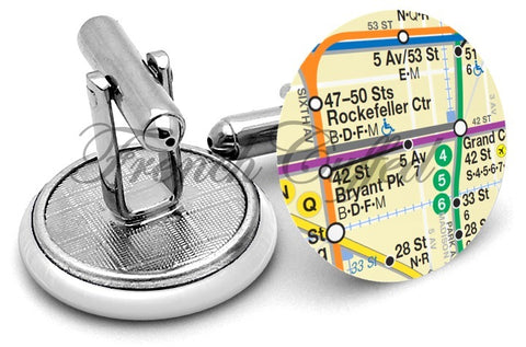 Manhattan Subway Map Cufflinks - Angled View