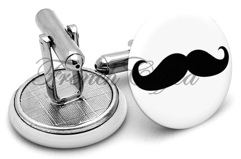 Moustache Black Mustache Cufflinks - Angled View