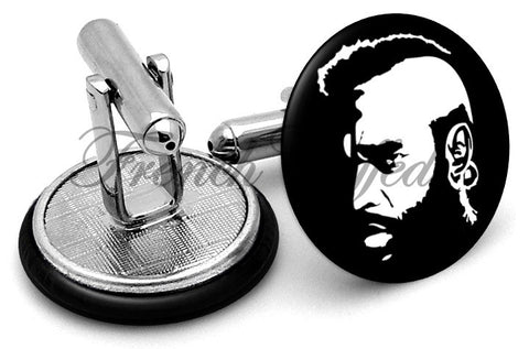 Mr T Baracus A-Team Black Cufflinks - Angled View