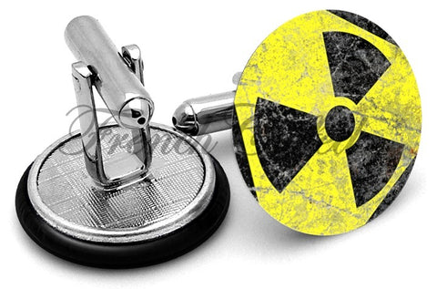Radiation Warning Cufflinks - Angled View