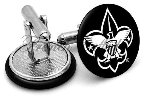 Boy Scouts Logo Black Cufflinks - Angled View