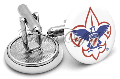 Boy Scouts Logo Color Cufflinks - Angled View