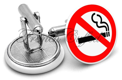 No Smoking Sign Cufflinks - Angled View