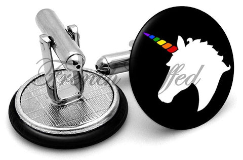 Unicorn Rainbow Cufflinks - Angled View