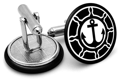 Anchor with Ships Wheel Cufflinks