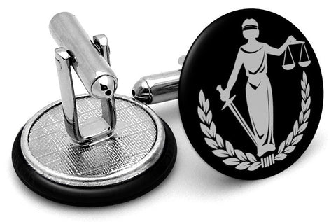 Lady Liberty Scales Justice Silver Cufflinks