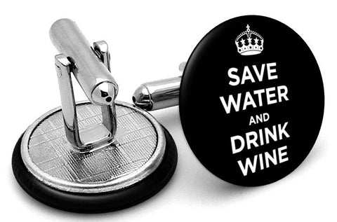 Save Water Drink Wine Cufflinks