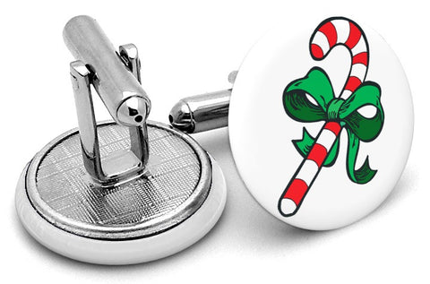 Candy Cane Bow Cufflinks