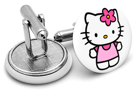 Hello Kitty White Cufflinks