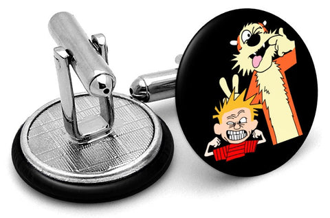 Calvin And Hobbes Black Cufflinks