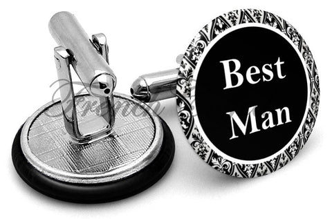 Design #2 Bestman Wedding Cufflinks - Angled View
