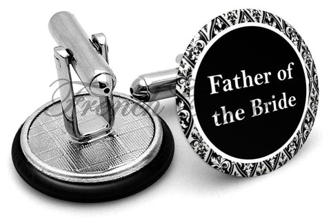 Design #2 Father Bride Wedding Cufflinks - Angled View