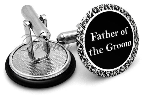 Design #2 Father Groom Wedding Cufflinks - Angled View