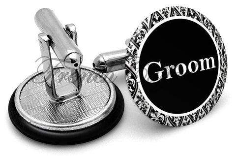 Design #2 Groom Wedding Cufflinks - Angled View