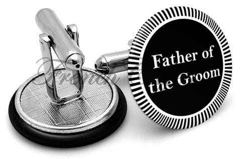Design #3 Father Groom Wedding Cufflinks - Angled View