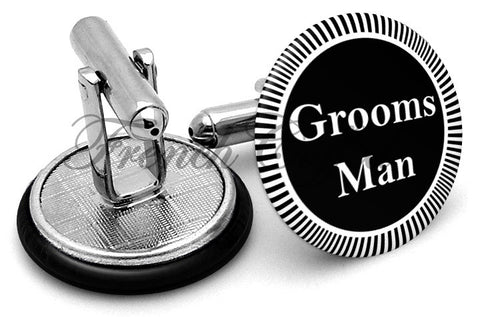 Design #3 Groomsman Wedding Cufflinks - Angled View